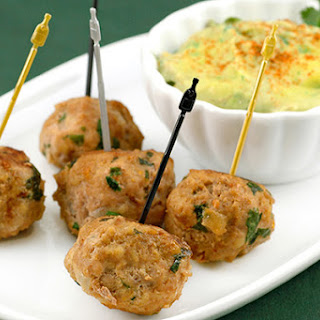 Turkey Meatballs with Avocado-Citrus Dipping Sauce.
