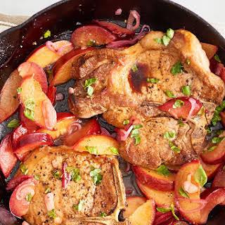 One-Pan Basil-Plum Pork Chops.