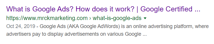 "A title tag for an article on Google Ads. The title tag reads: ""What is Google Ads? How does it work?"""