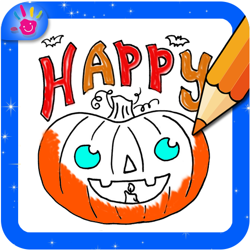 Happy Halloween Coloring Book Drawing Game Icon