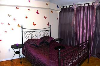 """Photo: спальня в стиле """"бабочковое безумие"""" :-) стена, кстати на самом деле ровная, я просто две фотки как умела склеила"""