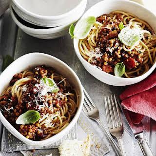 Mushroom and Lentil Spaghetti.