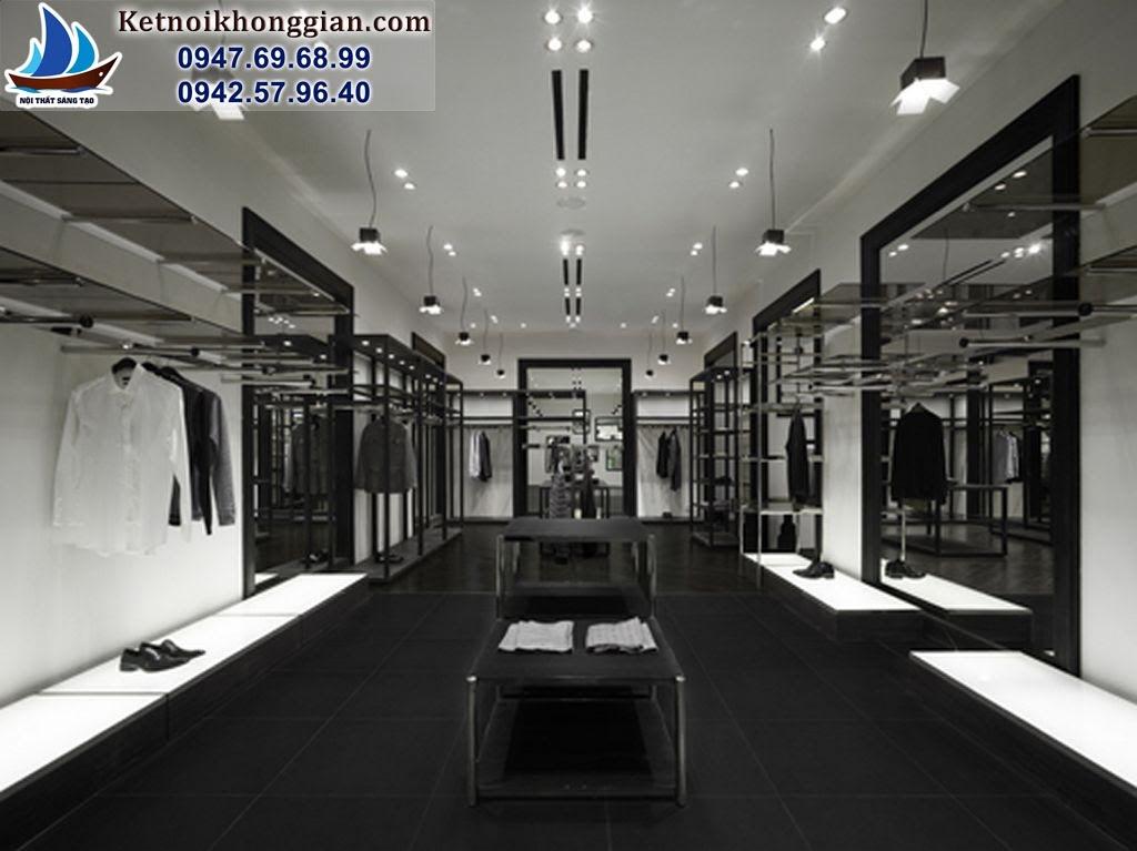 thiết kế cửa hàng thời trang nam với nội thất phù hợp với sản phẩm