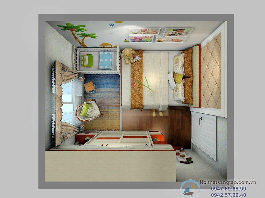 phòng ngủ bố mẹ và bé nhỏ
