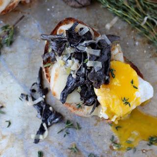 Creamy Leeks + Black Trumpet Mushrooms on Toast.