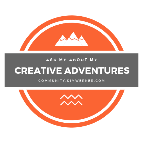 "Badge that says ""Ask me about my creative adventures"""