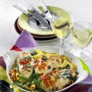 Hähnchenschnitzel-Gratin in Gorgonzola-Sahne
