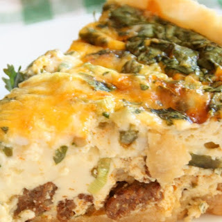 Green Chile and Chorizo Quiche