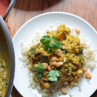 Butternut Squash Kabocha Chickpea Green Curry over Cauliflower Rice (gluten free, dairy free, grain free, soy free, vegan).