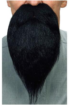 Långt skägg med mustasch, svart