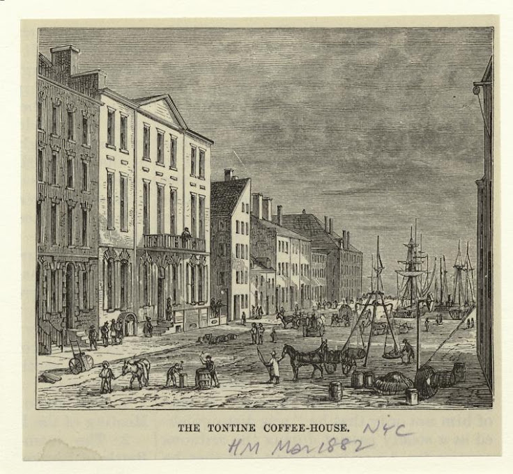 The Tontine Coffee House in Lower Manhattan issued in 1859. Photo: NYPL Art and Picture Collection.