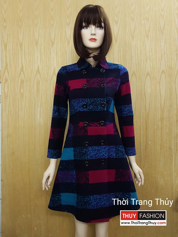 Váy xòe thu đông vải dạ hai hàng cúc V504 ở Hải Phòng
