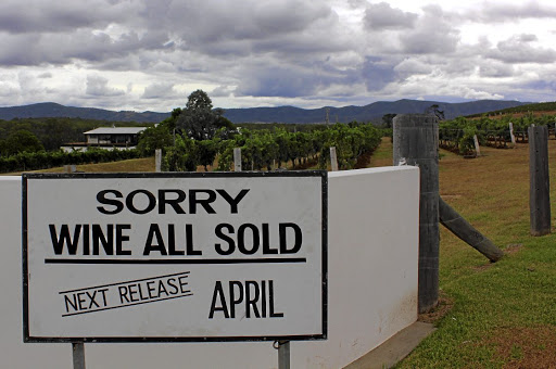 A sign declaring that Lakes Folly Winery has sold out of wine stands at the Hunter Valley winery's main gate in February 2018. Picture: REUTERS