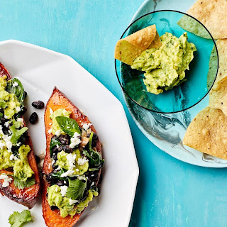 Stuffed Sweet Potatoes with Beans and Guacamole Recipe | Epicurious.Com Recipe