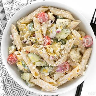 Creamy Lemon Dill Greek Pasta Salad