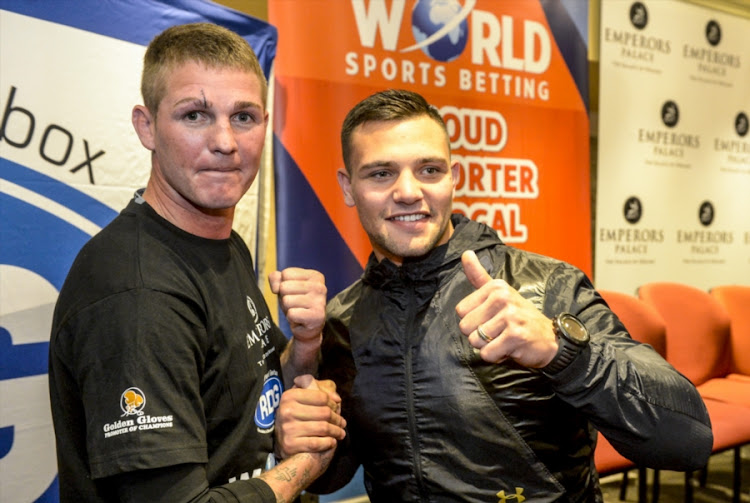 Boxers Thomas Oosthuizen and Kevin Lerena during the Emperors Palace, Supersport and GOLDEN Gloves announcement of the Supersport/Emperors Palace Three Tournament Festival of Boxing at Lucretia Room, Emperors Palace at June 11, 2018 in Johannesburg, South Africa.
