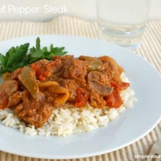 Crock Pot Pepper Steak.