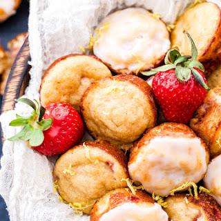 Mini Strawberry Muffins with Lemon Glaze.