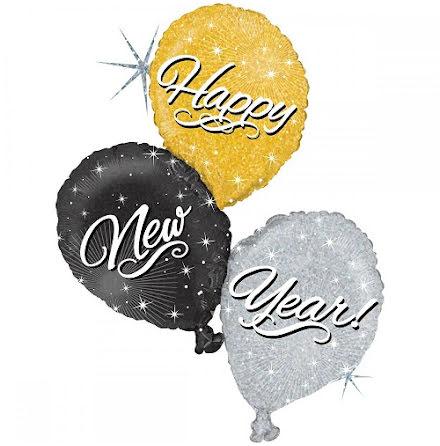 Folieballong Happy new year trio.