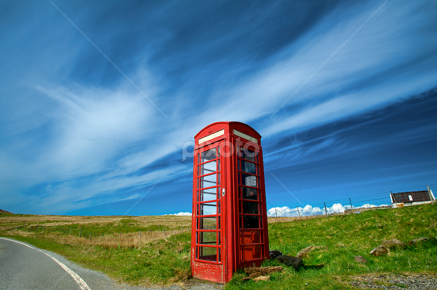 Dying Out by Benjamin Arthur - Artistic Objects Other Objects ( scotland, british, scottish, benjaminarthur.com, phone booth, highlands, benjamin arthur photography, skye, england, red, english, telephone, britain )