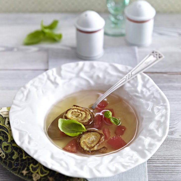 Tomato Consommé with Cheesy Tortilla Rolls