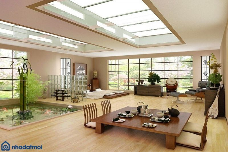 Lựa chọn gam màu tự nhiên khi trang trí phòng khách kiểu Nhật
