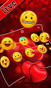 Live Red Romantic Heart Keyboard Theme 5