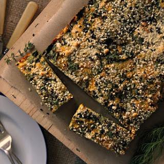 Winter Vegetable Slice W/ Crunchy Almond & Black Sesame Crumb.