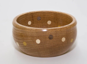 "Photo: Don Van Ryk, 4"" oak bowl with walnut, maple, and osage orange inserts"