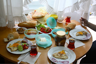 Photo: Gulcan's mom made us this amazing breakfast my first morning there.