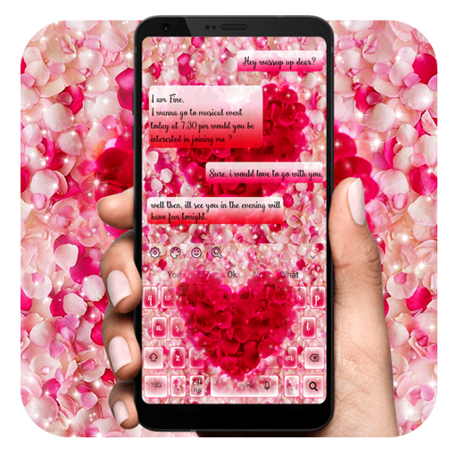 Pink Flower Heart Keyboard