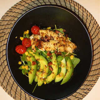 Honey and Mustard Roast Chicken Breast Salad with Avocado
