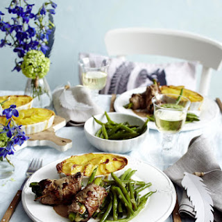 Beef and Blue Cheese Roulades with Potato Gratin and Green Beans