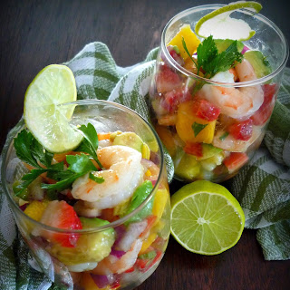 Easy Shrimp Ceviche with Mango Pineapple & Avocado.