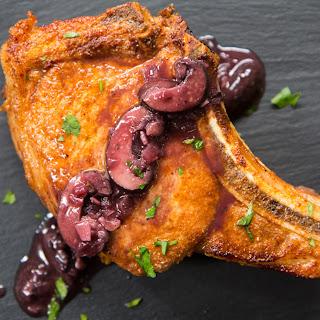 Smoky Spiced Pork Chops with Red Wine Mushroom Sauce.