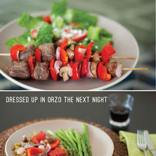 Beef, Chicken, or Tofu Kebabs, Repurposed for Orzo