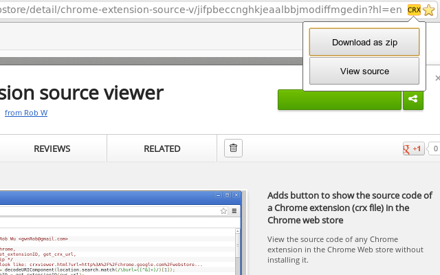 Chrome extension source viewer