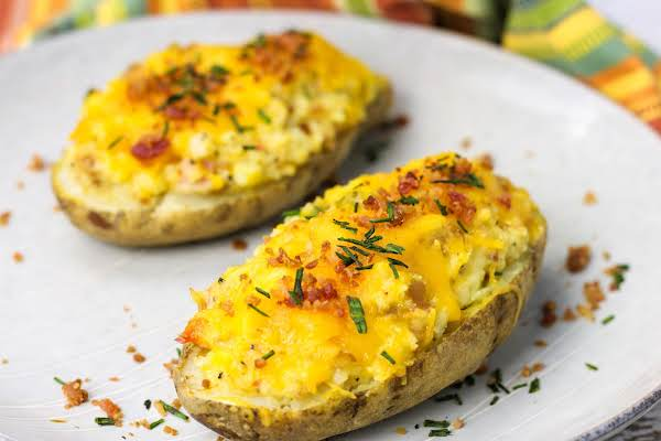 Amazing Twice Baked Potatoes On A Plate.
