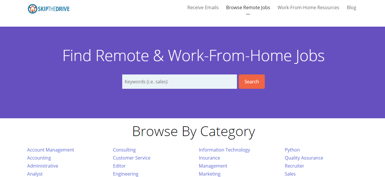 Skip The Drive - Remote Jobs Board, best job sites for remote work
