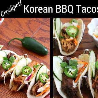 Crockpot Korean Barbecue Tacos with Asian Slaw.