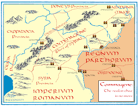 """Photo: Another map I have created for the """"Romanike"""" series, this time historically accurate, without any added fictional names. We see the territory of the lost kingdom of Commagene that few people have ever heard of these days though its royal house has produced world-famous artifacts: the Hierotherion on the top of #Nemrud #Dagh, a mountain in eastern Turkey, the #Philopappus #Monument in #Athens and the cults of #Mithras and #Jupiter #Dolichenus. Its ancient royal capital, #Samosata, also produced a classic author: the satirist #Lucian.  In our novels, the kingdom has fallen and been absorbed by the Roman Empire in which it constitutes just a far-away district of a far-away province. But its power lives on, hidden, though not vanquished. And in a time of crisis, when Rome is facing a major war with the Parthian kingdom in the east, the Realm that Is No More raises its head again to reclaim the power it has once had - over the Imperial throne.  The entire series is available on paper or digitally here: http://www.amazon.com/s/ref=nb_sb_noss?url=search-alias%3Daps&field-keywords=Romanike  And more background information is available on our blog: http://www.corpus-sacrum.de"""