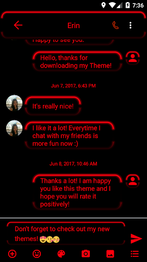 sms messages neon led red theme screenshot 2