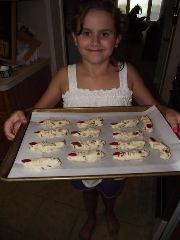 Fingers Ready For The Oven. Claire Had Alot Of Fun Making These. A Great Baking Project For Kids!