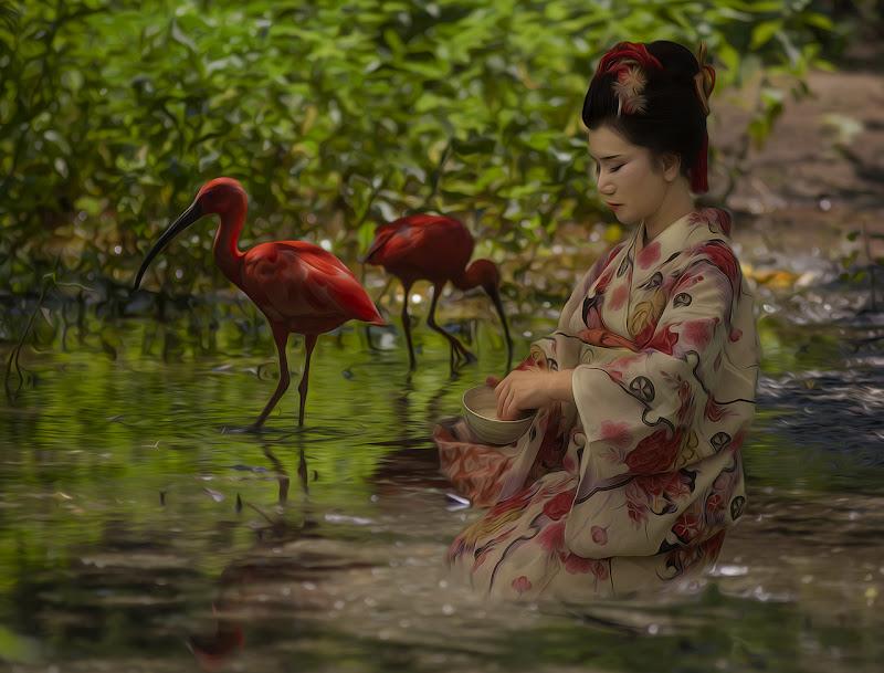 Giapponeseria-Oiran - ispirata all'opera di Van Gogh di angart71