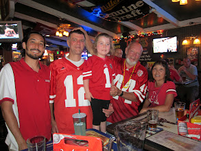 Photo: First Husker Game of 2013, at Players Pub with Uncle Cody, JB, Fianna, Papa Rick and GMa Laurie