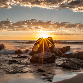 Sunset at O'Sullivan's Beach, South Australia by Sharon Wills - Landscapes Beaches ( water, osullivan's, sand, crashing waves, waterscape, australian, waves, osullivans, sea, ocean, seascape, beach, landscape, sunburst, o'sullivans beach, sun burst, sunset, australia, south,  )