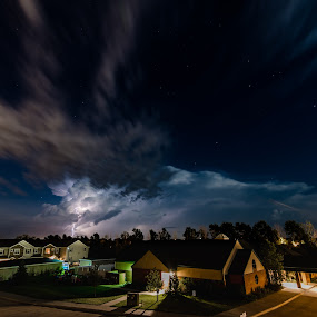 Stars and Strikes by Matt Hollamon - City,  Street & Park  Night ( clouds, lightning, thunderstorm, stars, d500, long exposure, nikon, tokina, nebraska,  )