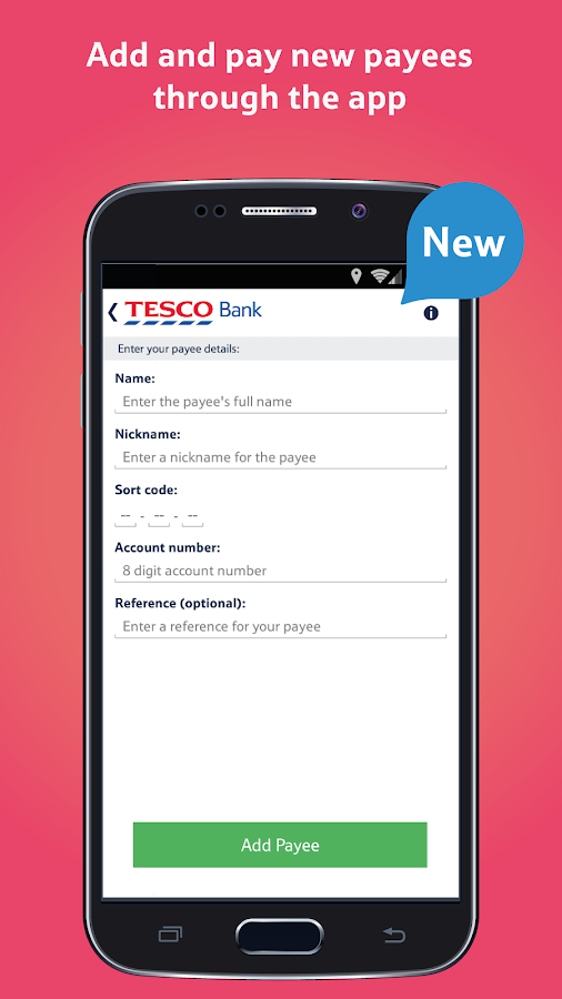 Tesco banking app Example - The Baby Event - Accessibility links