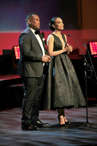 Robert Marawa and  Pearl Thusi at the  Naledi Theatre Awards int Gold Reef City. 2017  Picture credit: Veli Nhlapo