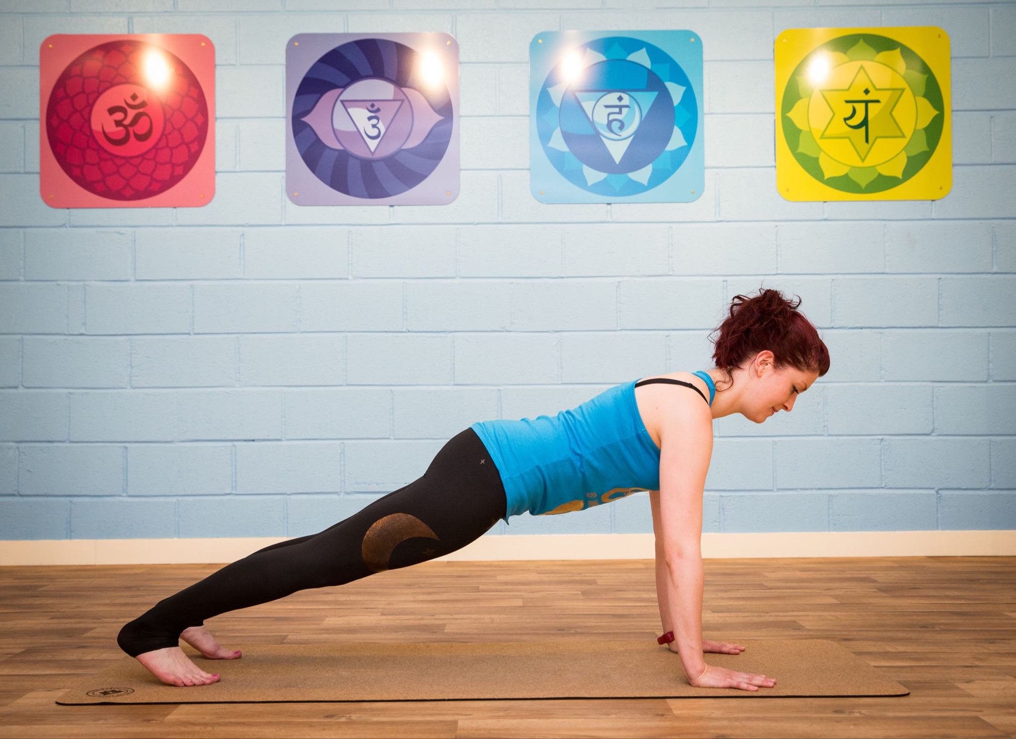 Plank pose is ideal for strengthening the core muscle group. Holding this pose  can be challenging,  however regular practice will improve strength in the deep transverse abdominals, pelvic floor, back, and obliques